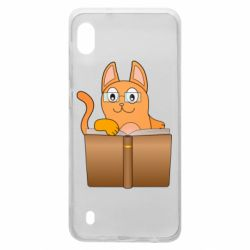 Чехол для Samsung A10 Cat in glasses with a book