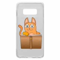 Чехол для Samsung S10e Cat in glasses with a book