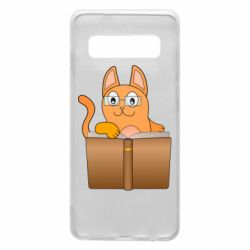 Чехол для Samsung S10 Cat in glasses with a book