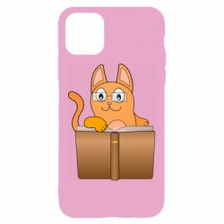 Чехол для iPhone 11 Cat in glasses with a book