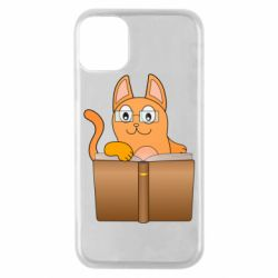 Чехол для iPhone 11 Pro Cat in glasses with a book