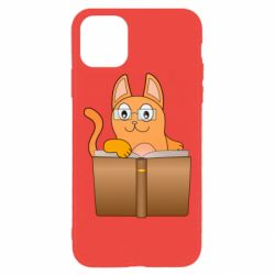 Чехол для iPhone 11 Pro Max Cat in glasses with a book
