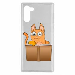Чехол для Samsung Note 10 Cat in glasses with a book