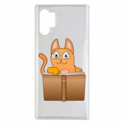 Чехол для Samsung Note 10 Plus Cat in glasses with a book
