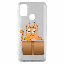 Чехол для Samsung M30s Cat in glasses with a book