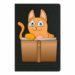Блокнот А5 Cat in glasses with a book