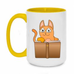 Кружка двухцветная 420ml Cat in glasses with a book
