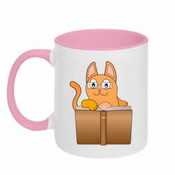 Кружка двухцветная 320ml Cat in glasses with a book