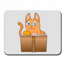 Коврик для мыши Cat in glasses with a book