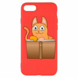 Чехол для iPhone 7 Cat in glasses with a book