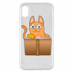 Чехол для iPhone X/Xs Cat in glasses with a book