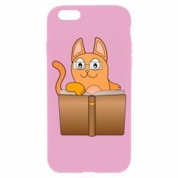 Чехол для iPhone 6/6S Cat in glasses with a book