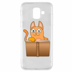 Чехол для Samsung A6 2018 Cat in glasses with a book
