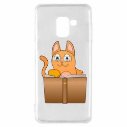 Чехол для Samsung A8 2018 Cat in glasses with a book