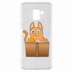 Чехол для Samsung A8+ 2018 Cat in glasses with a book