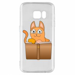 Чехол для Samsung S7 Cat in glasses with a book