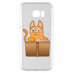 Чехол для Samsung S7 EDGE Cat in glasses with a book