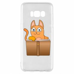 Чехол для Samsung S8 Cat in glasses with a book