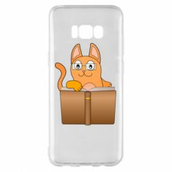 Чехол для Samsung S8+ Cat in glasses with a book