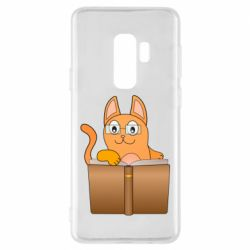 Чехол для Samsung S9+ Cat in glasses with a book