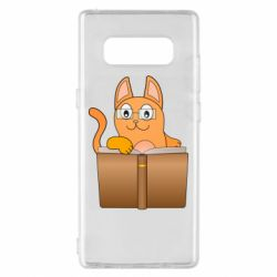 Чехол для Samsung Note 8 Cat in glasses with a book