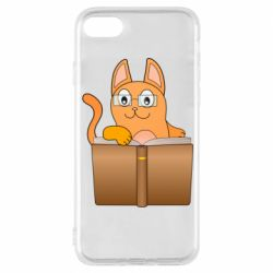 Чехол для iPhone 8 Cat in glasses with a book