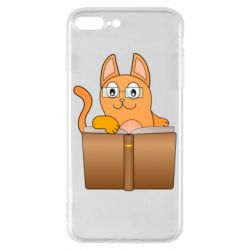 Чехол для iPhone 8 Plus Cat in glasses with a book