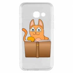 Чехол для Samsung A3 2017 Cat in glasses with a book