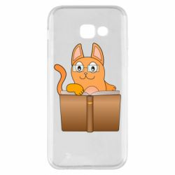 Чехол для Samsung A5 2017 Cat in glasses with a book