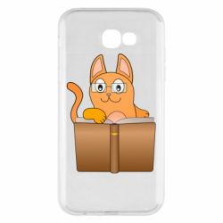 Чехол для Samsung A7 2017 Cat in glasses with a book