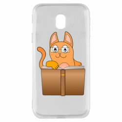Чехол для Samsung J3 2017 Cat in glasses with a book