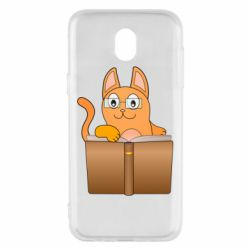 Чехол для Samsung J5 2017 Cat in glasses with a book