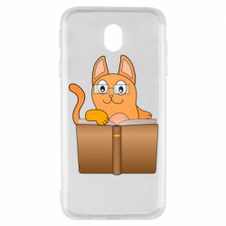 Чехол для Samsung J7 2017 Cat in glasses with a book