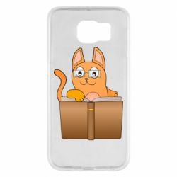 Чехол для Samsung S6 Cat in glasses with a book