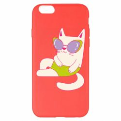 Чехол для iPhone 6 Plus/6S Plus Cat in modern glasses