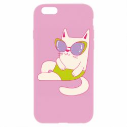 Чехол для iPhone 6/6S Cat in modern glasses