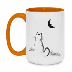 Кружка двухцветная 420ml Cat is watching the moon