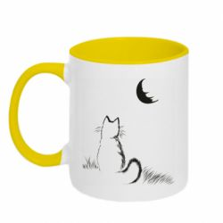 Кружка двухцветная 320ml Cat is watching the moon