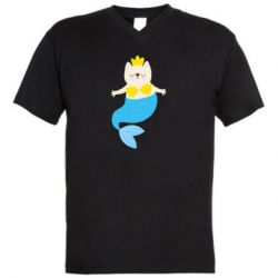 Мужская футболка  с V-образным вырезом Cat-mermaid