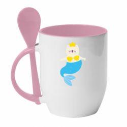 Кружка с керамической ложкой Cat-mermaid