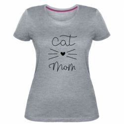 Жіноча стрейчева футболка Cat mom
