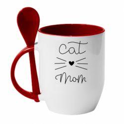 Кружка з керамічною ложкою Cat mom