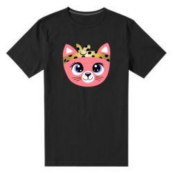 Мужская стрейчевая футболка Cat pink