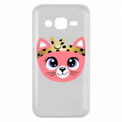 Чехол для Samsung J2 2015 Cat pink