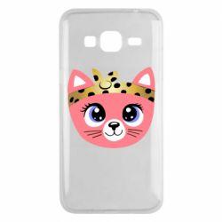 Чехол для Samsung J3 2016 Cat pink