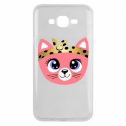 Чехол для Samsung J7 2015 Cat pink