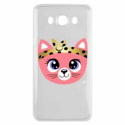 Чехол для Samsung J7 2016 Cat pink