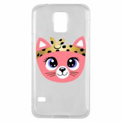 Чехол для Samsung S5 Cat pink