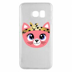 Чехол для Samsung S6 EDGE Cat pink
