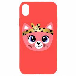 Чехол для iPhone XR Cat pink